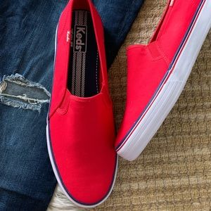 NWOT Keds Red Double Decker Slip On Sneakers Sz 11